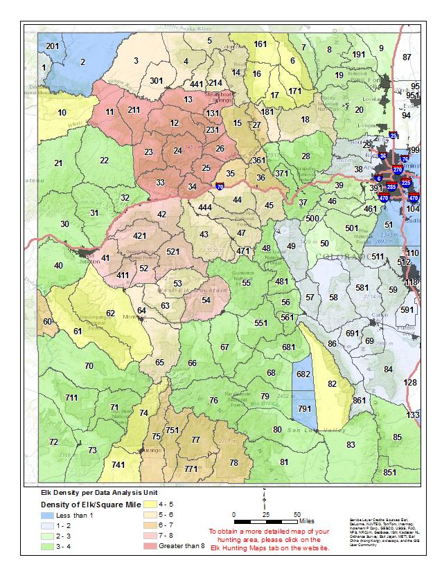 Colorado Elk Population Density Map | Arizona Map